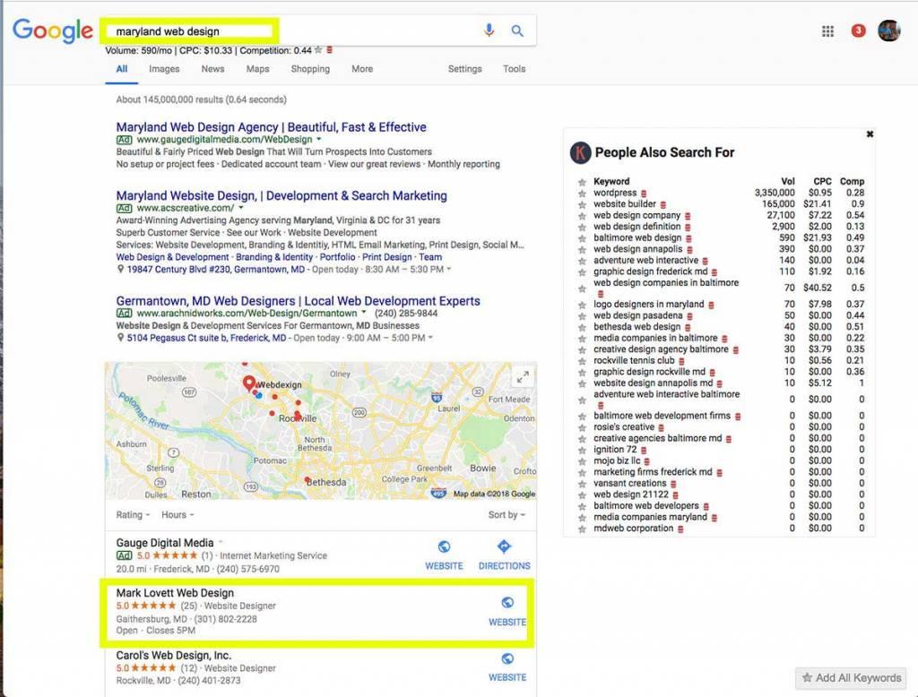 maryland SEO company results md web design